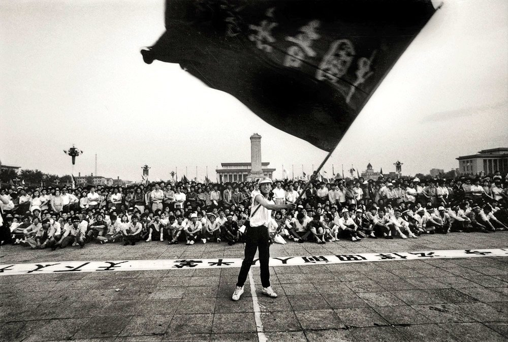 Flag waving in Tiananmen Square, Beijing, May 1989.