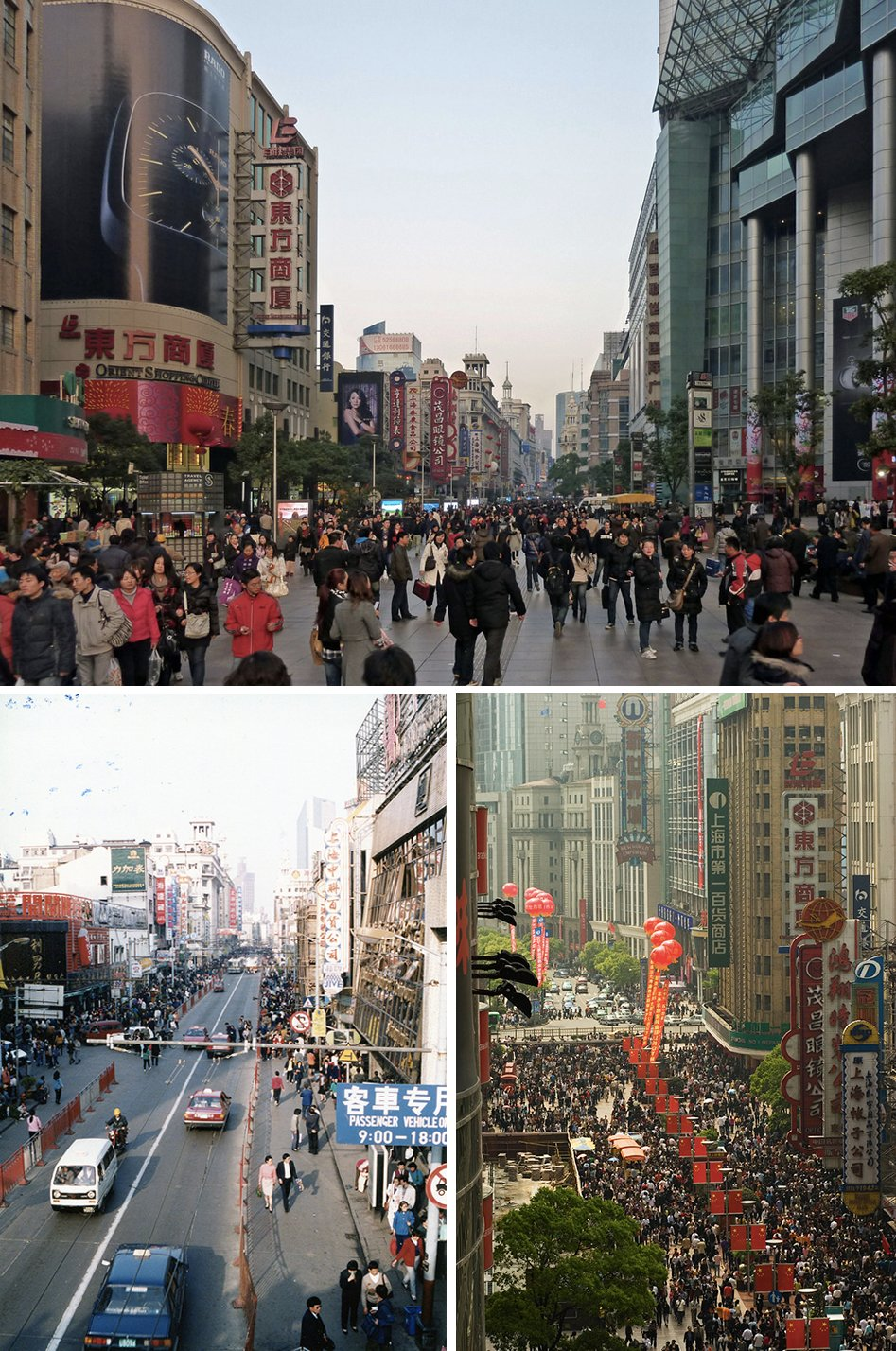 Composite image showing Nanjing Road, pedestrian shopping district in 2010, 2001 and 1993.