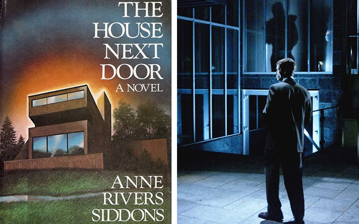 Cover image of The House Next Door and still from movie of the book.