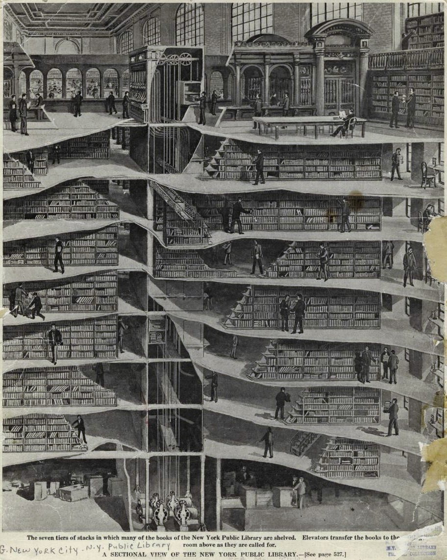 Stacks at the Stephen A. Schwarzman Building, New York Public Library. [Published in a 1911 issue of Scientific American]