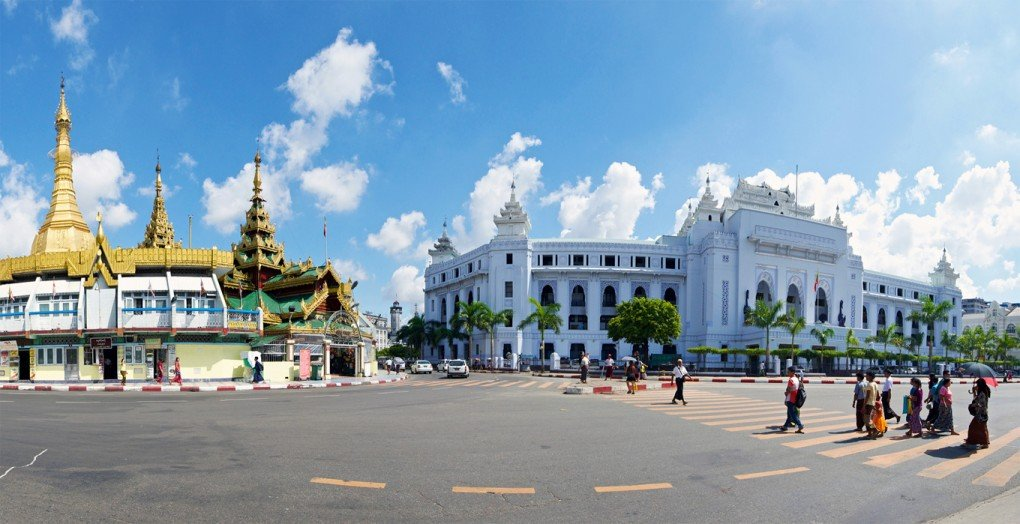Sule Pagoda (left) and City Hall (right), Yangon. [Eugene Phoen]
