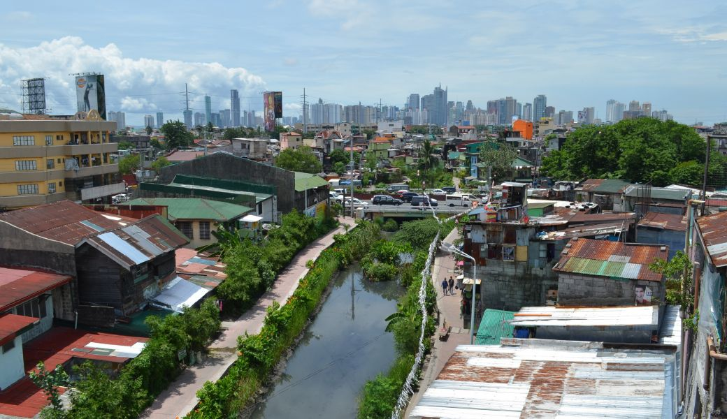 Estero de Paco clearance project, as seen from the roof of an affluent homeowner who benefited from the project.