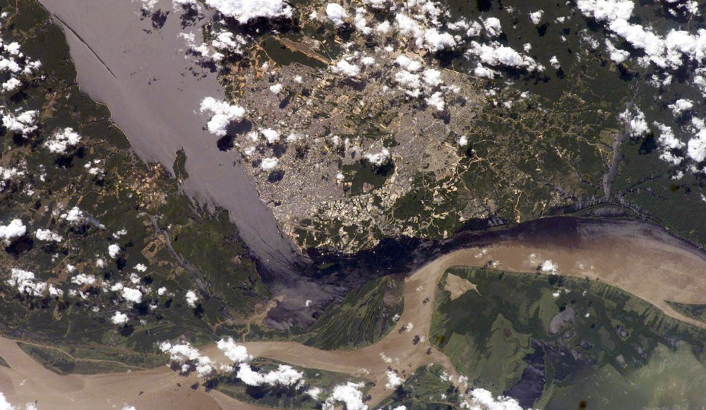 Confluence of the Solimões and the Negro rivers at Manaus, Brazil. [NASA]