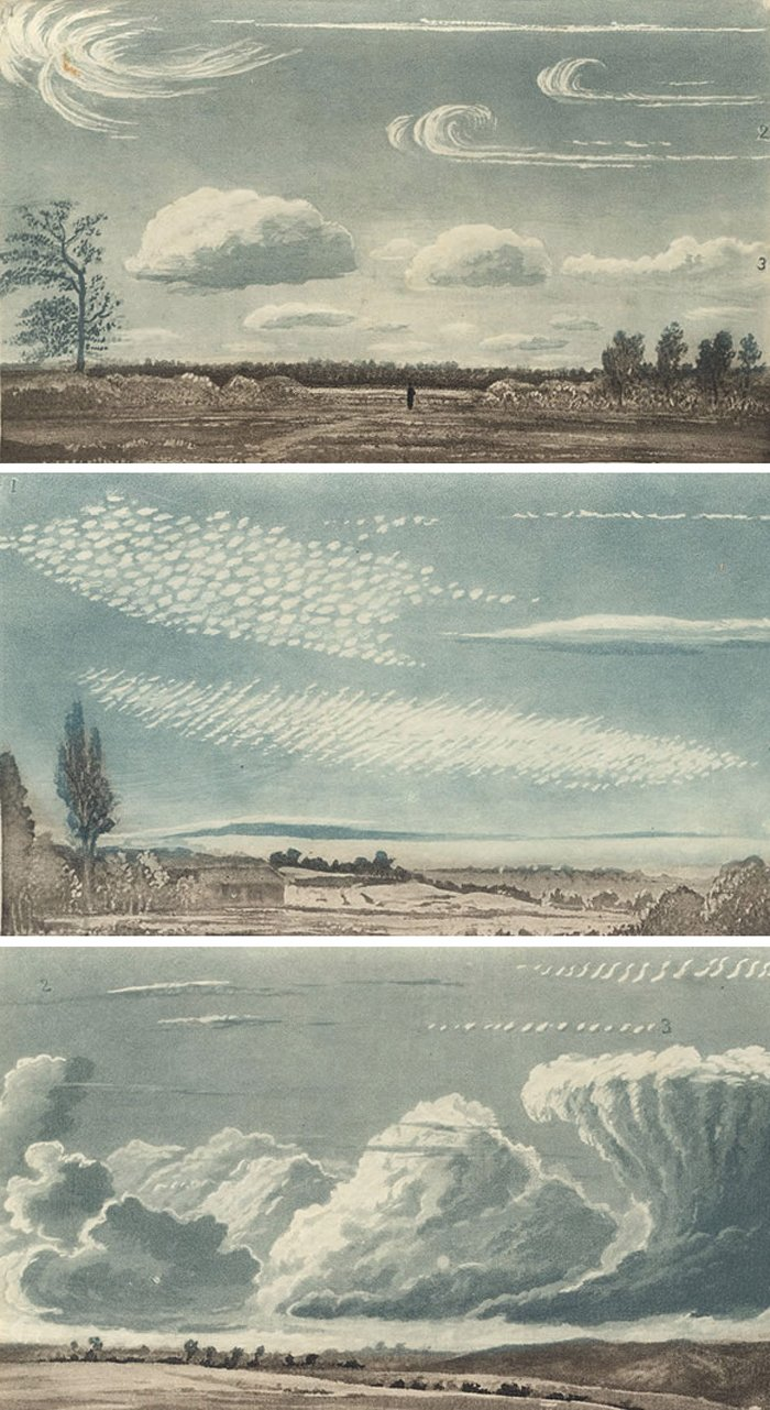 Cloud studies by Thomas Forster, from Researches about Atmospheric Phenomena