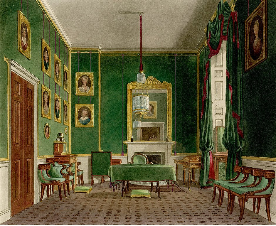 Green Closet, Buckingham House, painting by W. H. Pyne