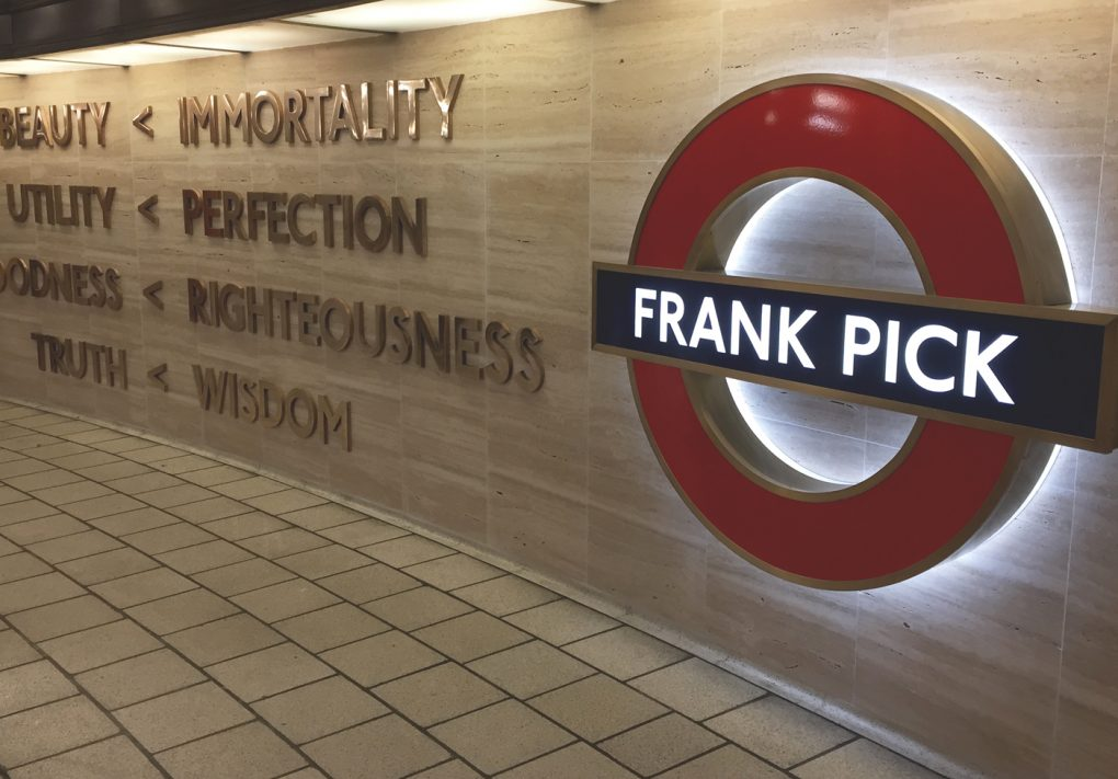 Frank Pick Memorial, Piccadilly Circus Underground Station, November 2016.