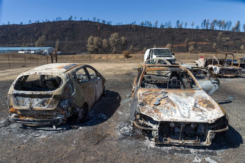 Burned out cars in Middletown, California, after the Valley Fire