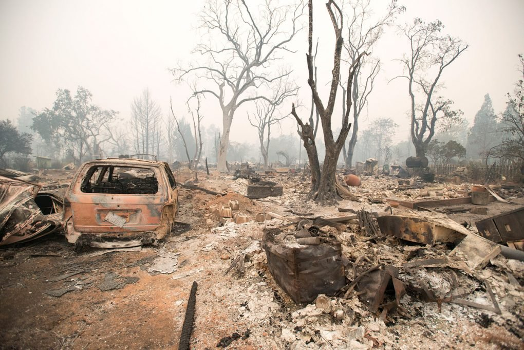 Neighborhood in downtown Middletown, California, burned after the Valley Fire