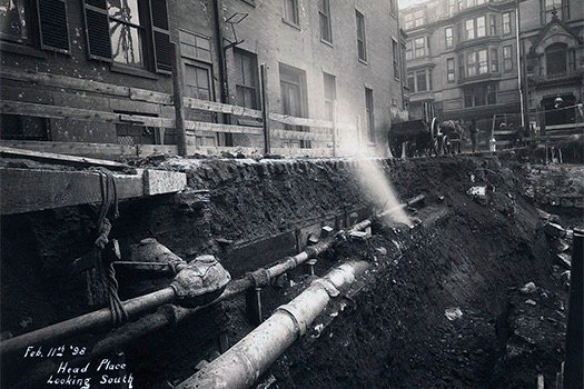 Head Place, looking south, 1898 February 11, Boston Gas Company