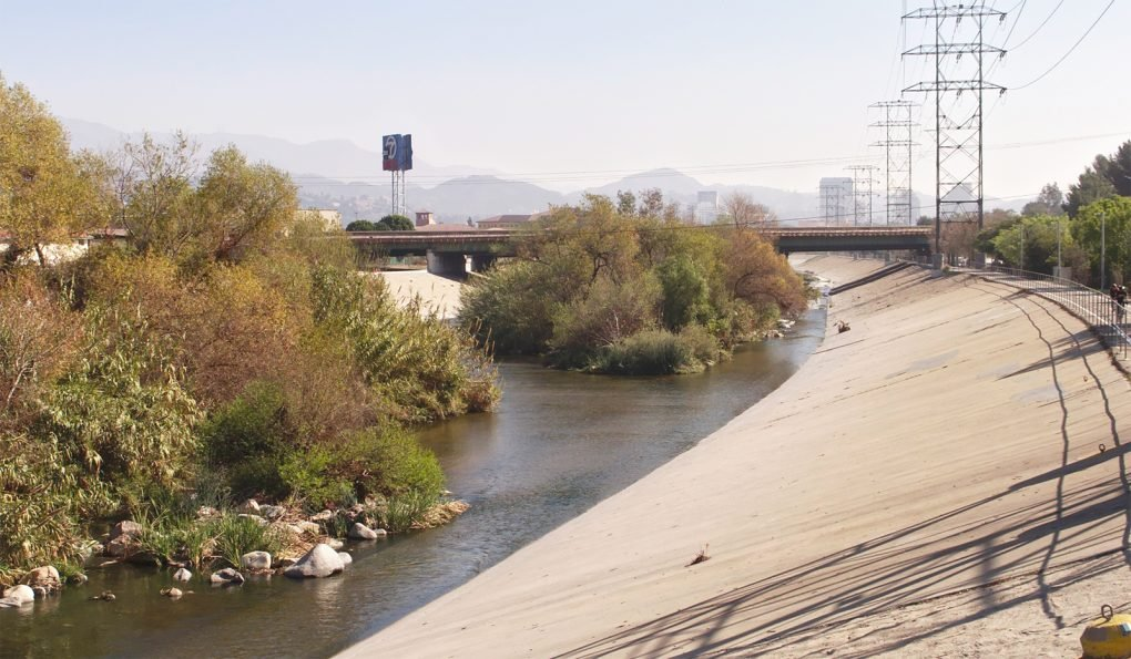Los Angeles River, Glendale, with a bicycle path along the banks.
