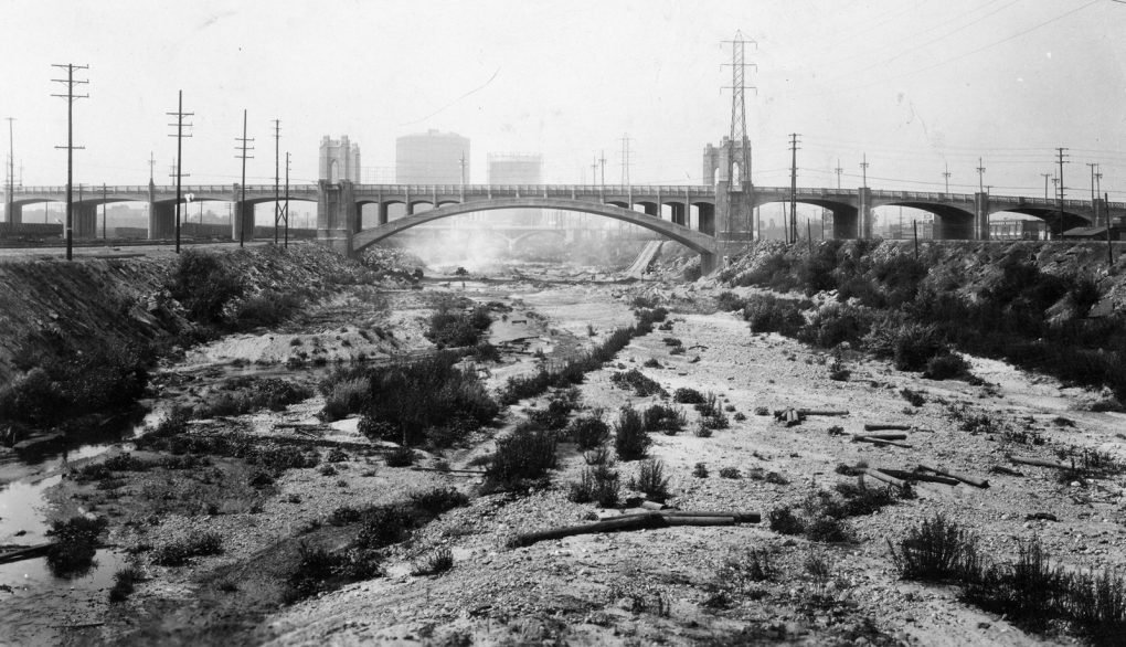 The Los Angeles River, with a view of the Fourth Street Bridge, 1931