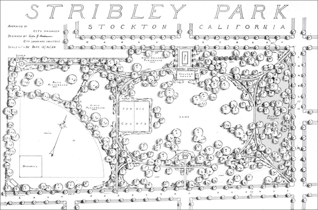 Plan of Stribley Park, Stockton, California