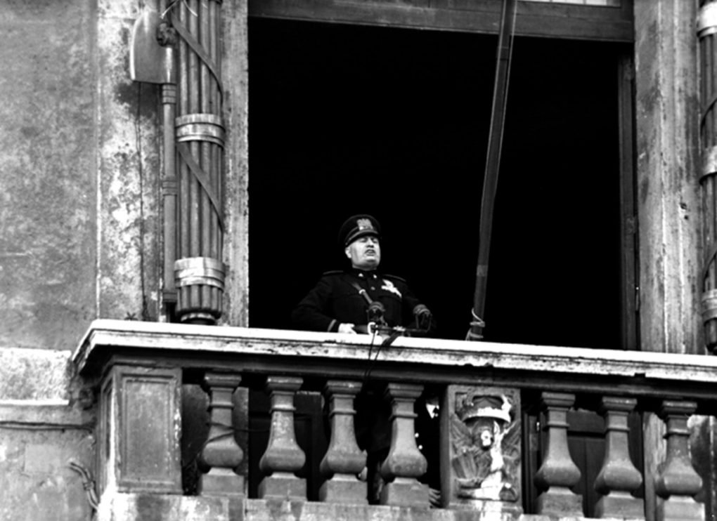 Benito Mussolini delivering his war declaration from the Palazzo Venezia, Rome, June 10, 1940.