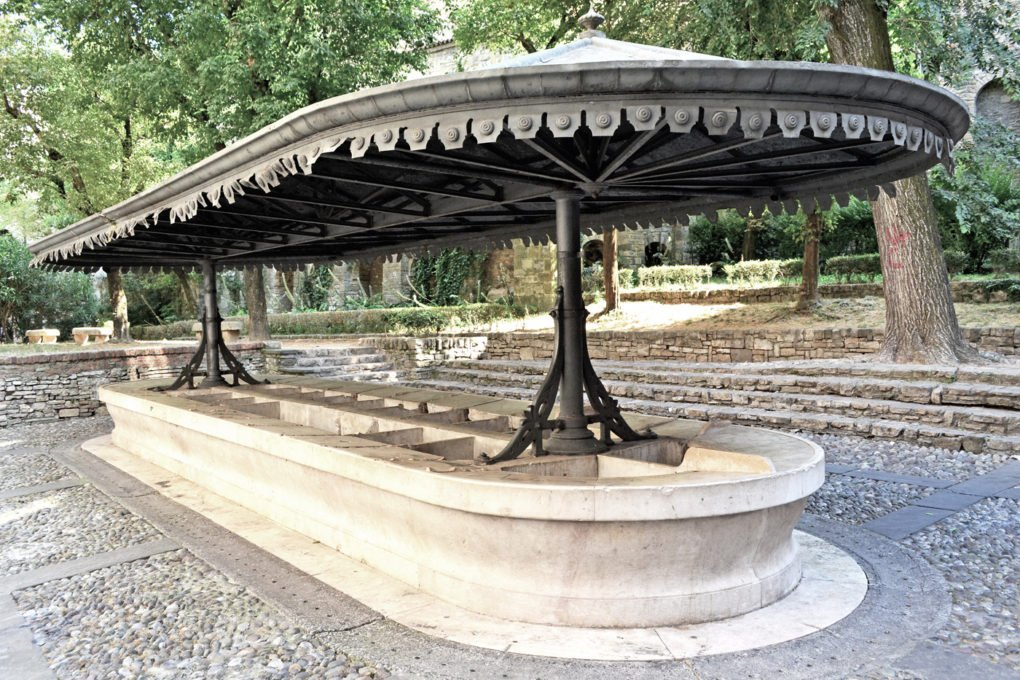 Lavatoio, 1881, Bergamo, with cast iron frame and metal canopy.