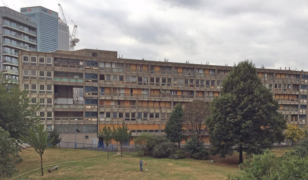 Robin Hood Gardens, vacant and ready for demolition, 2016.