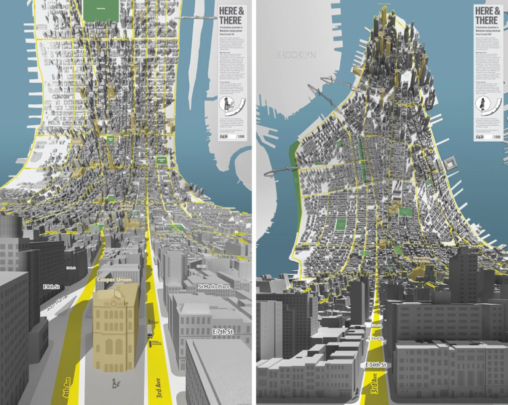 BERG, Here and There: A Horizonless Projection in Manhattan, maps