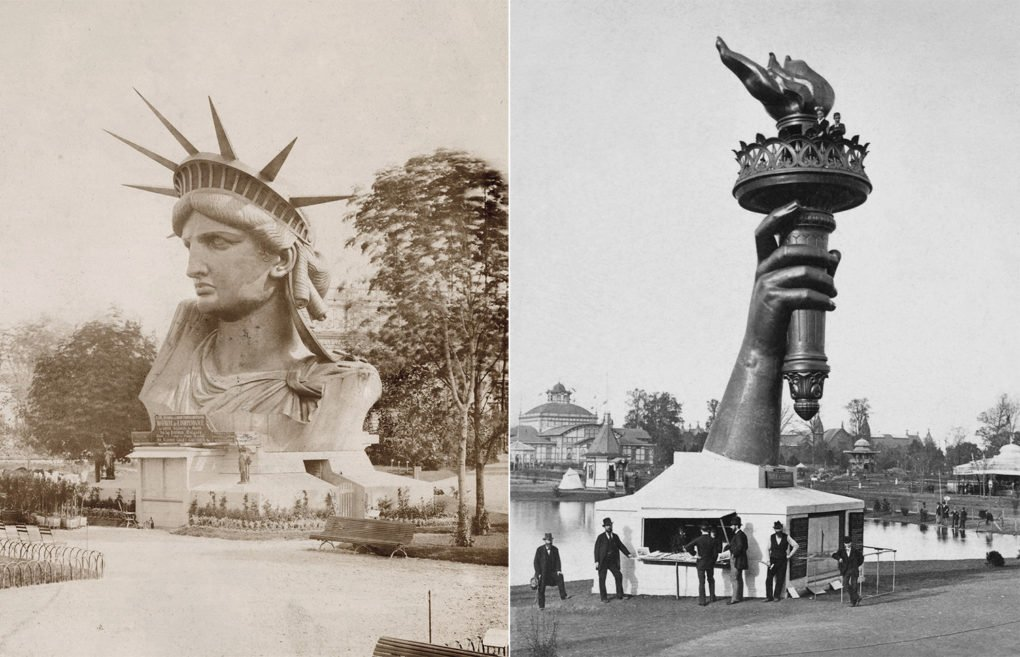 Left: Head of the Statue of Liberty on display at the Exposition Universelle, Paris; photograph by Albert Ferique, ca. 1883. Right: Torch of the Statue of Liberty on display at the 1876 Centennial Exhibition, Philadelphia.