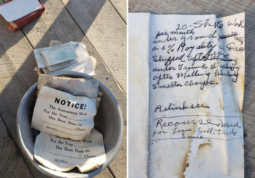 Old papers belonging to a miner