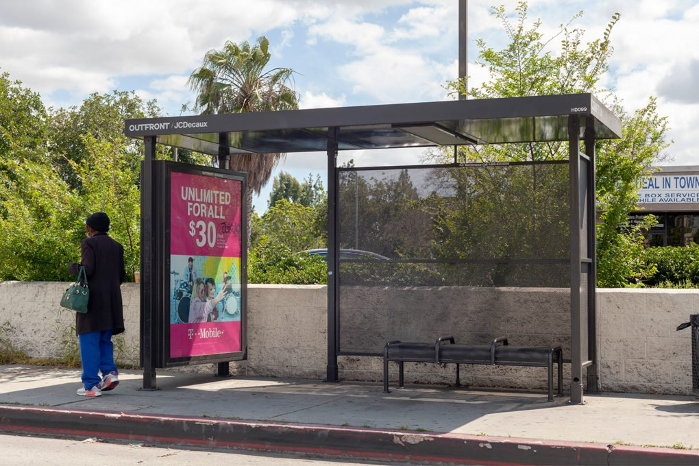 Bus shelter in Los Angeles