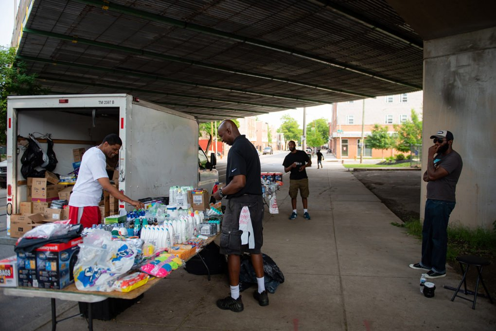 """Boogaloo"" runs an open-air shop from his truck, selling household items on Germantown Ave. beneath the Roosevelt Extension in Nicetown, June 2019."