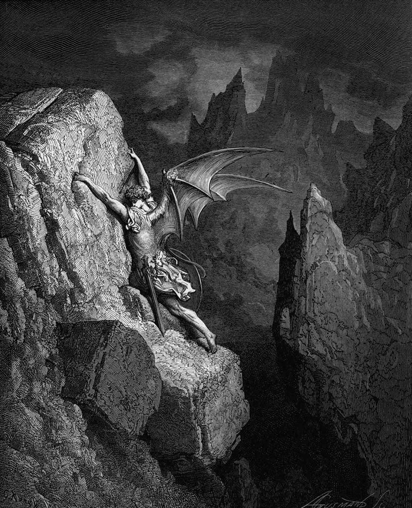 Gustav Dore illustration of Satan in Milton's Paradise Lost