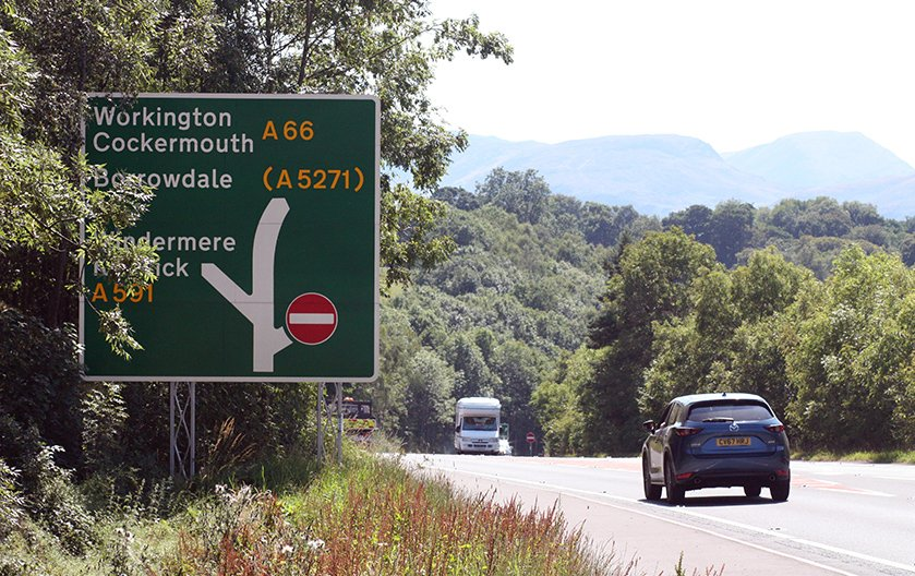 Road sign on the Keswick Bypass, Lake District, England