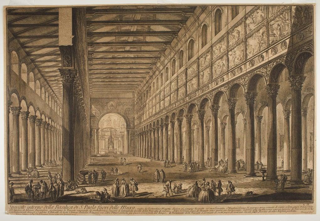 San Paolo fuori le mura, before the fire, 1749. Drawing by Giovanni Battista Piranesi.