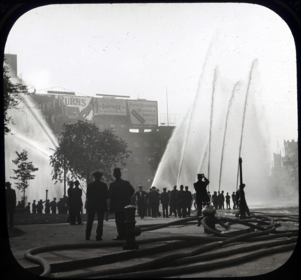 Fire hydrant tests, NYC, 1908.
