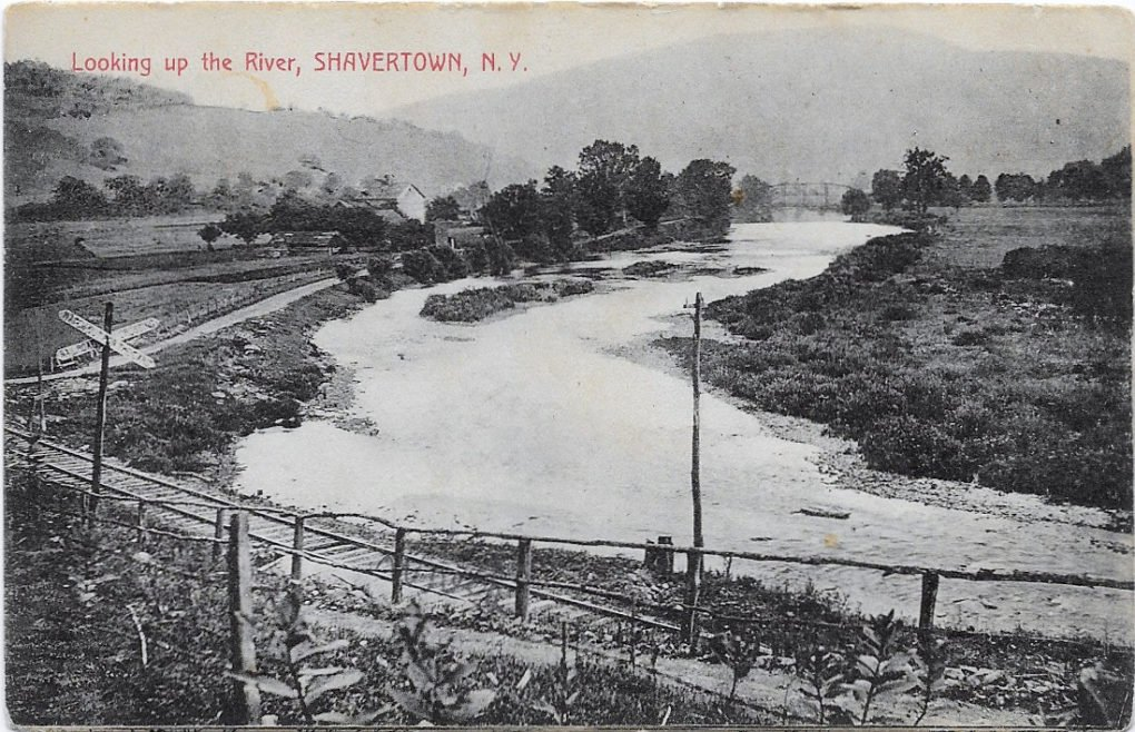 Looking up the River, Shavertown, N.Y., postcard circa 1910.