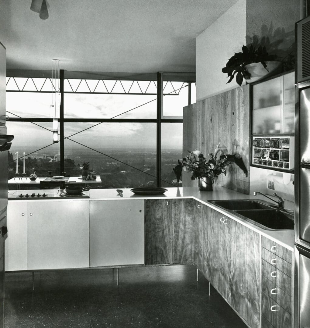 Kitchen at Magnusson Grossman house at Claircrest Drive, 1956–57.